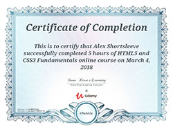 HTML5/CSS3 certificate