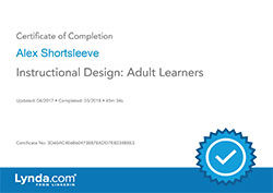 Instructional Design Adult Learners certificate