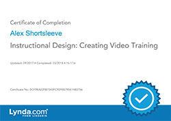 Instructional Design Creating Video Training certificate
