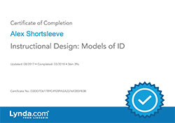 Instructional Design Models of ID certificate
