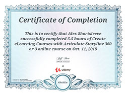 Articulate Storyline 360 certificate