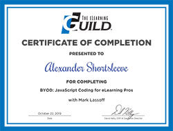 E-Learning Guild JavaScript Coding for eLearning Pros Certificate